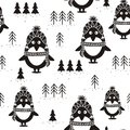 Black and white seamless pattern, penguins and fir trees,