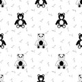 Black and white seamless pattern with teddy bear Stock Photography