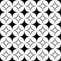 Black and white seamless star pattern - geometrical monochrome vector background design from curved shapes
