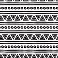 Black and white seamless tribal ethnic pattern Aztec abstract background Mexican ornamental texture in vector Royalty Free Stock Photo
