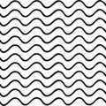 Black And White Seamless Wavy Background. Hand Drawn Pattern With Waves Design. Vector Wave Wallpaper.