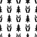 Black and white seamless winter pattern - Xmas trees and owls. Winter forest illustration.