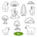 Black and white set of animals and objects, family of bears Royalty Free Stock Photo