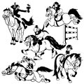 Black white set with cartoon riders horse equestrian sport and illustration Stock Images