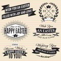 Black and white set of labels on easter vector Royalty Free Stock Photo