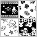 Black-and-white set of sea-life seamless patterns Stock Photography