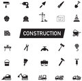 Silhouette Civil engineering, maintenance labor, excavator transport and construction site industry graphic tool equipment sign Royalty Free Stock Photo