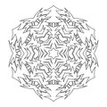 Black and white silhouette of a snowflake. Lace, round ornament and decor. Illustration