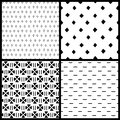 Black and white simple ethnic geometric seamless patterns set, vector