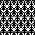 Black and white simple trees geometric ikat seamless pattern, vector Royalty Free Stock Photo