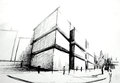 Black white sketch building Royalty Free Stock Photo