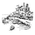 Black and white sketch drawing of historical fort Petrovac
