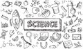 Black and white sketch science chemistry physics biology icon