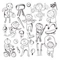 Black white sketch sport players vector cartoon character set Stock Photos