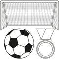 Black and white soccer ball, gate, medal icon set.