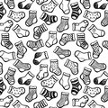 Black white socks seamless pattern vector hand drawn on color Stock Photos