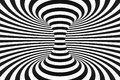 Black and white spiral tunnel. Striped twisted hypnotic optical illusion. Abstract background. 3D render.