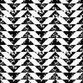 Black and white sponge print triangles geometric grunge seamless pattern, vector