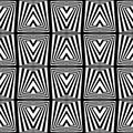 A black and white square optical illusion abstract Stock Image