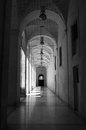 Black and white stone and marble old building corridor Royalty Free Stock Image
