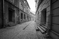 Black and white streets of the old town in lublin poland Royalty Free Stock Photos