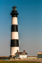 Black and white striped lighthouse  at Bodie Island on the outer Royalty Free Stock Photo