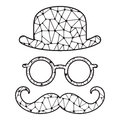 Black and white stylized bowler, glasses and mustache.