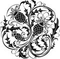 Black and white stylized vector image of a thistle