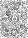 Black-and-white Summer flowe isolated on white. Abstract doodle background made of flowers  and butterfly. Vector coloring page Royalty Free Stock Photo