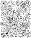 Black-and-white Summer flowe isolated on white. Abstract doodle background made of flowers and butterfly. Vector coloring page