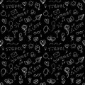 Black and white summer seamless pattern vector with stylized shapes of vacation attributes Royalty Free Stock Photography