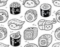 Black and white sushi and sashimi seamless pattern in kawaii style. Royalty Free Stock Photo