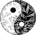 Black and white tao symbol sketched doodles yin yang digital illustration Royalty Free Stock Photo