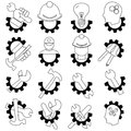 Black and white technology vector icon set
