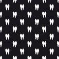 Black and white teeth seamless pattern