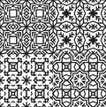Black and white textile patterns set vector seamless Royalty Free Stock Image