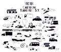 Black and white transport cartoon icon vector set pattern with doodle Royalty Free Stock Image