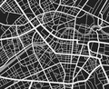 Black and white travel city map. Urban transport roads vector cartography background