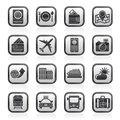Black and white airport, travel and transportation icons