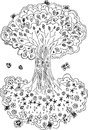 Black and white tree of life the with flowers fruits you can see this image upside down too mandala Stock Photography