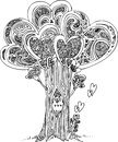 Black and white tree of love the with cute howl digital illustration Royalty Free Stock Photos