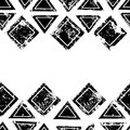 Black and white triangles and squares aged geometric ethnic grunge seamless border, vector Royalty Free Stock Photo