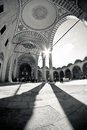 Black and white turkish mosque with tradtional architecture Royalty Free Stock Photos