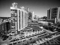 Black and white Ubran Industrial Austin Texas 2016 Skyline Aerial Curved Condos Modern Architecture Royalty Free Stock Photo