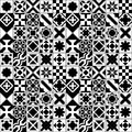 Black and white various moroccan tiles seamless pattern, vector