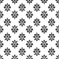 Black and white vector background. Beautiful queen seamless pattern with fleur de lys ornament elements. Royal signs in style of f Royalty Free Stock Photo