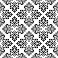 Black and white vector background. Beautiful queen seamless pattern with fleur de lys ornament. Royal sign in style. Vector illust Royalty Free Stock Photo