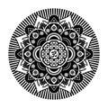 Black and white vector henna tatoo mandala. OM decorative symbol