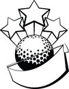 Black white vector illustration golf ball golf club hanging banner stars bursting out top Royalty Free Stock Photos