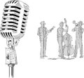 Black and white vector illustration with retro microphone and jazz band Royalty Free Stock Photos